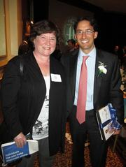 Forty under 40 winner Teddy Werner, of the Milwaukee Brewers, with Nora Sale, of  Froedtert Hospital Foundation.