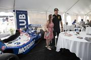 Hunter-Reay poses for photos before the race in the Marcus VIP tent.