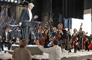 Zucker directs Milwaukee actor Bob Smith, playing the conductor, and MSO cellists Scott Tisdel and Gregory Mathews (in front row).