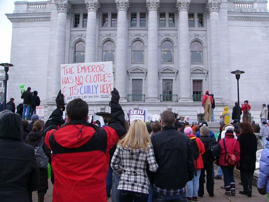 The proposal of Walker's collective bargaining law spurred a lengthy protest at the Capitol in Madison.