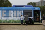 An Milwaukee County Transit System's environmentally friendly bus was on display.
