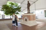 Fans took a look at the new statue on Sunday.