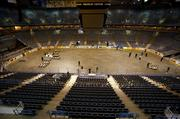 Bradley Center crews put up the dasher boards for the ice hockey rink.