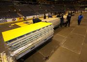 The sections of the Marquette basketball court were loaded on pallets.