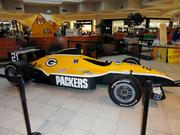 Race cars for each NFL team were stationed around Indianapolis. The Packers' car was located at a suburban Indianapolis shopping mall.