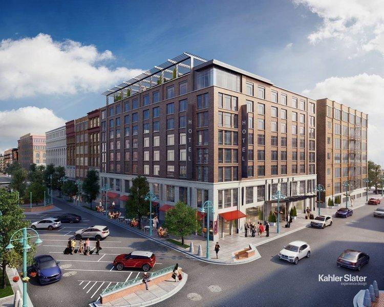 Rendering of the 3rd Ward Kimpton Hotel