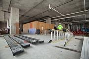 The first floor of the Moderne is a staging area where contractors are storing material and equipment, but eventually builders will move out and a restaurant will move in.