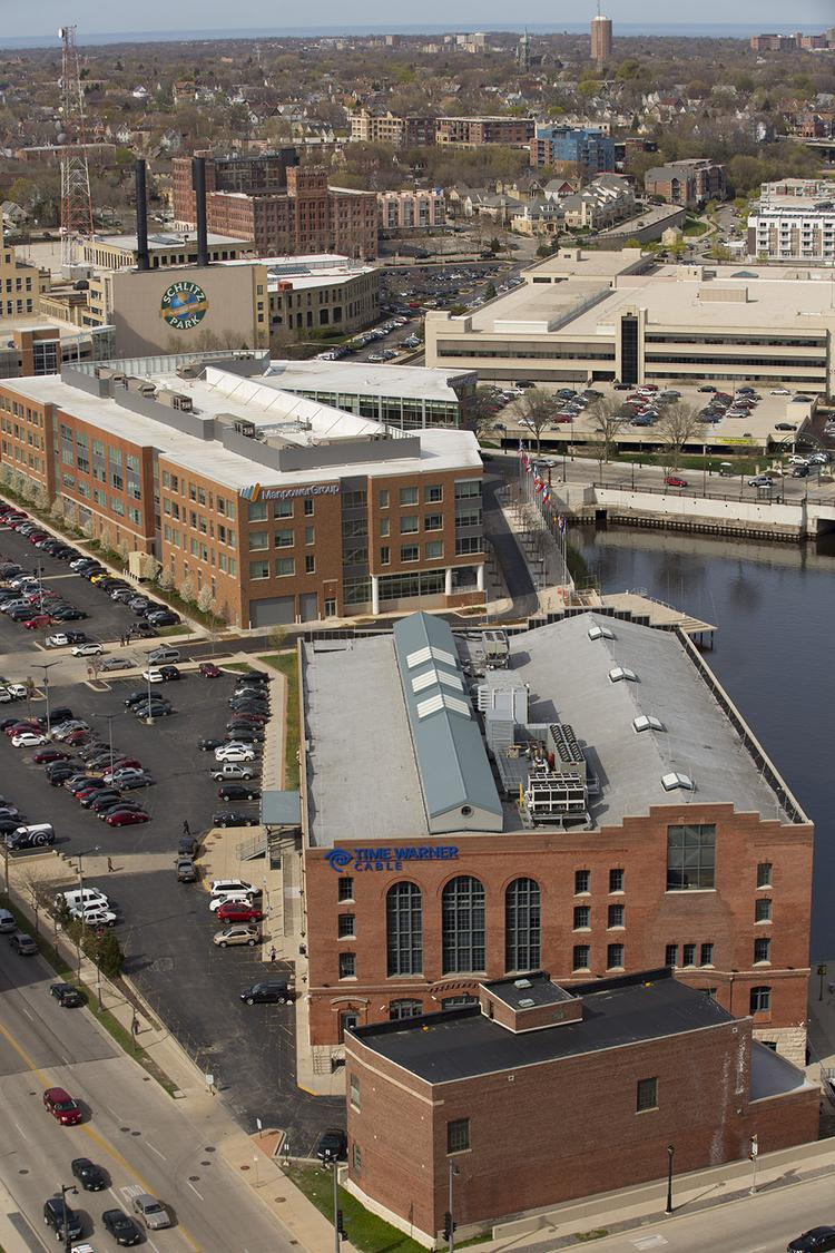 Schlitz Park is on the north side of the Milwaukee River, north of downtown.