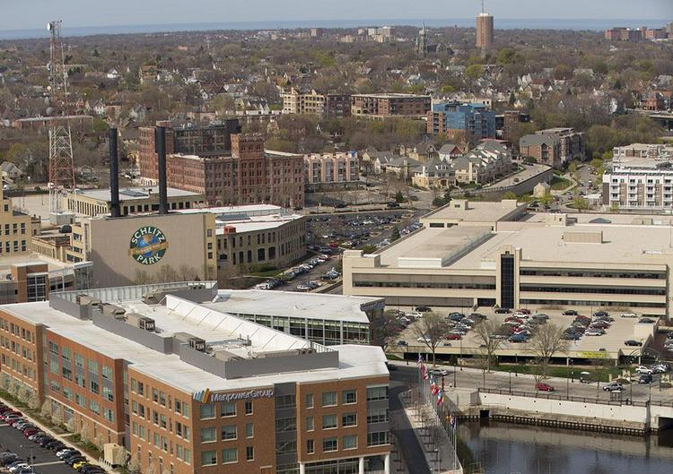 The RiverCenter building is north of the Milwaukee River in Schlitz Park.