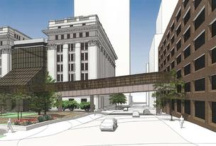 The planned skywalk would connect to the third floor of the office at 733 N. Van Buren St. in downtown Milwaukee.