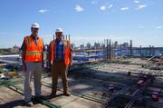 Gilbane project manager Kyle Merrill (left) and Paul Deppa, senior general superintendent, on the 10th floor.