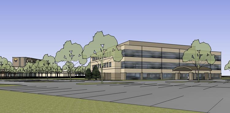 Rendering of Wheaton Franciscan Healthcare's planned three-story office building at its Franklin campus.