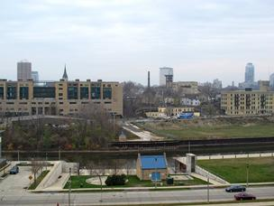 A former printing facility is surrounded by new apartments that have been built around the Milwaukee River.