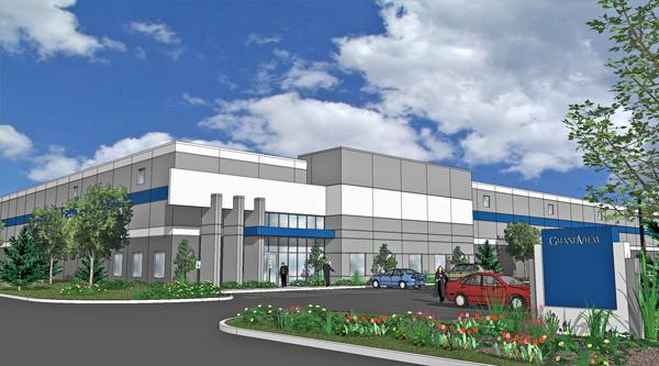 Rendering of the new industrial building in the Grandview Business Park in Yorkville