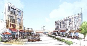 Sketch rendering showing the proposed streetscape plan for the Delphi site in Oak Creek