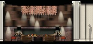 Rendering of the lobby fireplace
