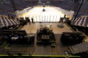 Crews had the Styx stage ready to go within 45 minutes after the Marquette senior day ceremony.