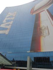The Super Bowl trophy adorned many of the buildings in downtown Indianapolis.