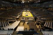 Crews begin to take apart the Marquette basketball floor.