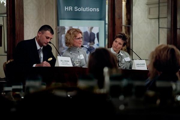 Bill Bohn, Associated Financial Group; Mary Curtin, 4Iimprint; and Linda Evans, Douglas Dynamics participate in an Employee Retention Roundtable, co-sponsored by Associated Financial Group and The Business Journal