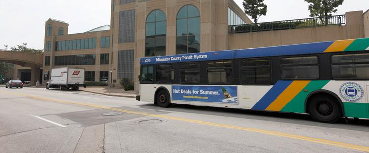 The downtown transit center is at the corner of East Michigan Street and North Lincoln Memorial Drive.