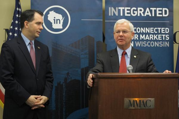 Gov. Scott Walker (left) and Reed Hall, who was selected in January as the new chief executive officer of the Wisconsin Economic Development Corp.