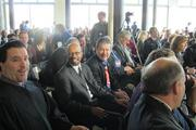 Milwaukee Common Council President Willie Hines, Ald. Robert Puente and other city officials had seats near the podium.