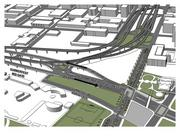 The extended Lincoln Memorial Drive would pass between the ramps leading onto and from the Hoan Bridge.