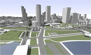 The redesign would increase the amount of public green space on the lakefront.