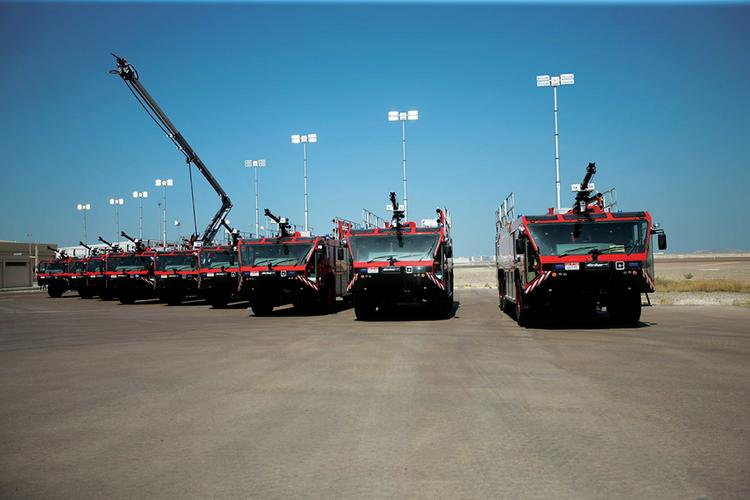Oshkosh Airport Products Group delivers nine Oshkosh Striker ARFF vehicles to Abu Dhabi Airports Company.