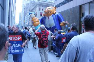 Republic Airways pilots protested outside the airline's annual meeting in New York City this week.