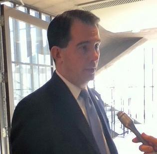 Gov. Scott Walker spoke at the Rotary Club of Milwaukee meeting Tuesday.