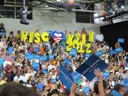 About 2,000 Obama supporters crowded into the Bradley Tech gym for the First Lady's appearance.