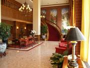 The lobby of the Cornhusker Hotel