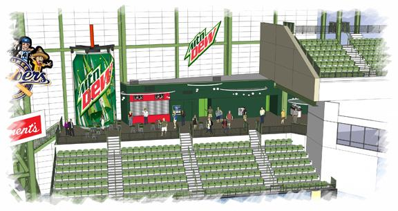 The upgrades to the Dew Deck seating area above the right-field bleachers feature the addition of a  25-foot-high climbing wall designed in the shape of a Mountain Dew can.