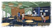 """An existing concessions stand, storage area and restroom will be removed to allow for the creation of a new fixed """"Chef's Table"""" counter in the Home Plate Lounge area."""
