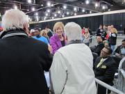 U.S. Senate candidate Tammy Baldwin works the crowd before the event.