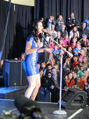 Pop star Katy Perry performed at the rally before Obama spoke.