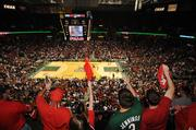 Fans packed the Bradley Center for game 6 of the Milwaukee Bucks' first-round NBA playoff matchup against the Atlanta Hawks on April 30, 2010.