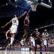 Chicago Bulls star Michael Jordan playing against the Bucks at the Bradley Center in June 1997.