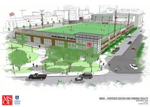 A rendering of the MSOE soccer field and parking structure