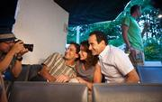 Tony Shalhoub, right, along with Jim DeVita and Julia Deane are photographed by Robb Fischer, left, at the American Players Theater near Spring Green for a Wisconsin Department of Tourism commercial