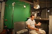 Shalhoub rehearses his lines before shooting.