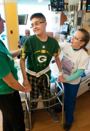 Caregivers at Children's Hospital of Wisconsin help Thomas Castillo on his road to recovery following a double organ transplant.