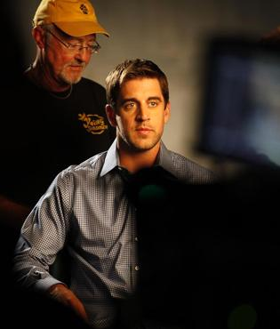 Aaron Rodgers during taping of the Associated Bank commercial