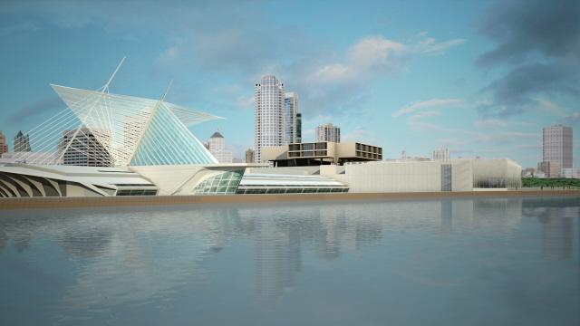 Rendering of the Milwaukee Art Museum's proposed renovation of the War Memorial