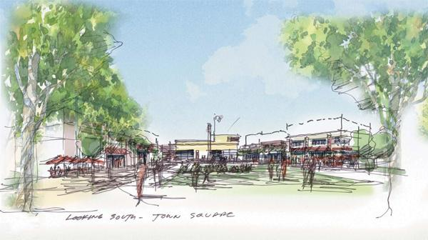 Oak Creek's new library and City Hall would overlook a public square.