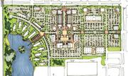 The envisioned project centers on the town square with larger stores on the east side of the site and apartments surrounding a pond on the property's west side.