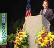 Gov. Scott Walker addresses the crowd at the Wisconsin Governor's Conference on Tourism Monday.