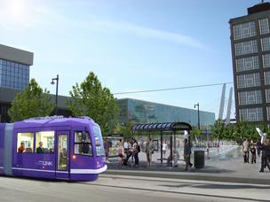 The streetcar system would run on a track through the city's downtown area and past the Milwaukee Intermodal Station.